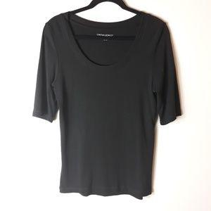 Cynthia Rowley  Scoop Neck Black Basic Shirt